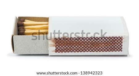 White isolated matches and matchsticks. Studo shot - stock photo