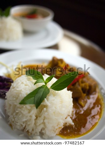 White jasmine rice with green herb on top and pork in red curry. Behind is rice with chicken in green curry. Black background - stock photo