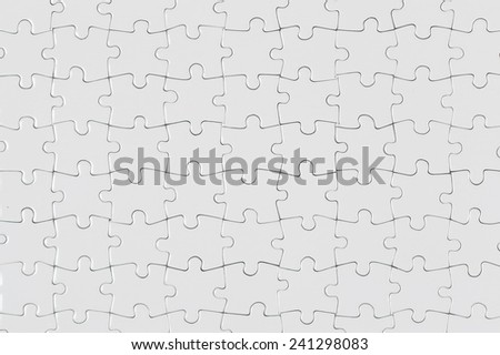 White Jigsaw Puzzle Pattern as a Background - stock photo