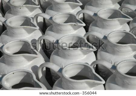 White jugs - stock photo