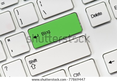 White keyboard buttons and green key blog - stock photo