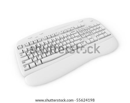 white keyboard isolated on white - stock photo