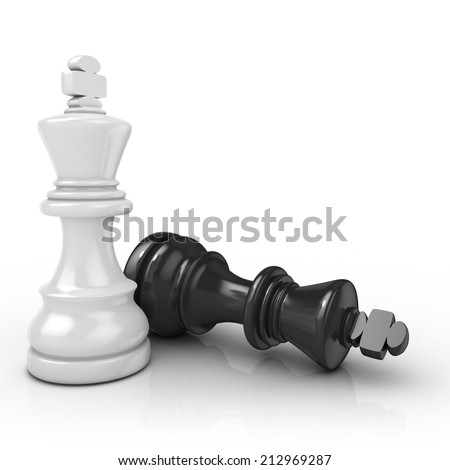 White king chess mate, on white background - stock photo