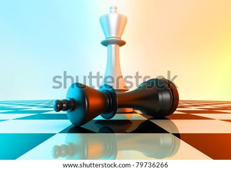 White king defeating black king - stock photo