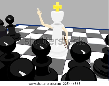 White king monk and black pawns - stock photo
