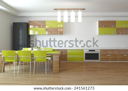 white kitchen-3D rendering - stock photo