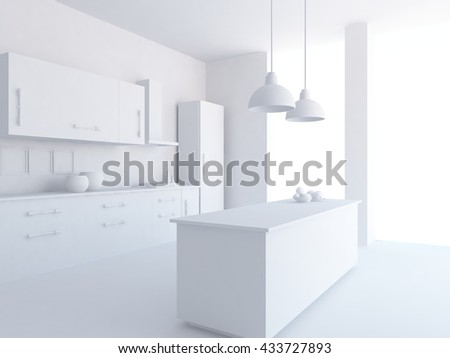 White kitchen. Scandinavian interior. 3D illustration - stock photo