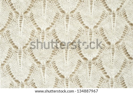 White knitted fabric for background - stock photo