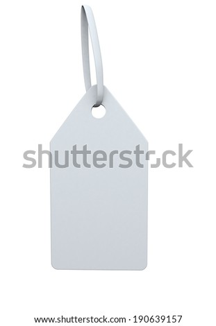 white label with a white ribbon on a white background - stock photo