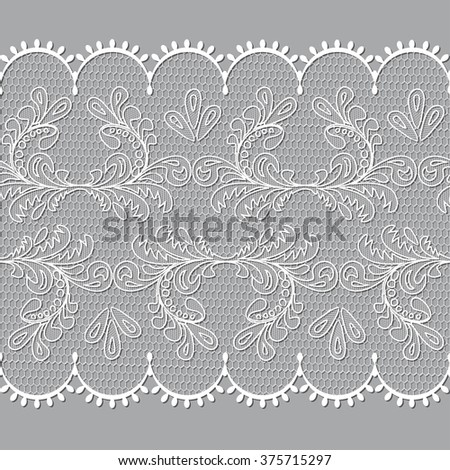 White lace design background, ornamental flowers band Abstract  Ribbon Seamless Pattern. Template frame Doily. Floral  border raster illustration - stock photo
