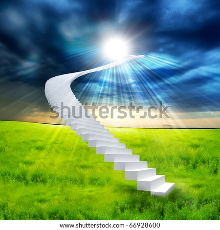 White ladder extending to a bright sky against a background of green grass. Symbol of the road to heaven - stock photo