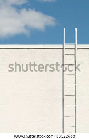 White ladder to the blue sky - stock photo