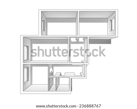 White layout apartments, outlined with a black outline. View from the top. Isolated on a white background. - stock photo