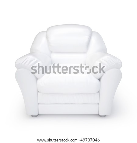 White leather armchair isolated on a white background - stock photo