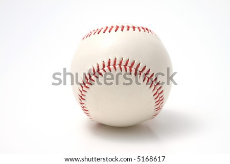 white leather Baseball with red stitching on a white background - stock photo