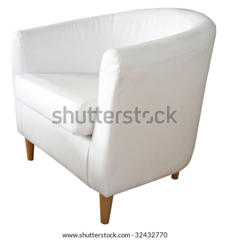 White leather chair - stock photo