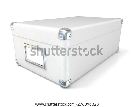 White leather closed box, with chrome corners and blank label. Side view. 3D render illustration isolated on white background - stock photo