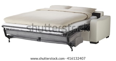 White leather couch bed isolated on white include clipping path - stock photo