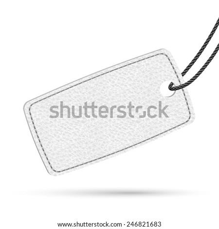 White leather price tag. Raster illustration. - stock photo
