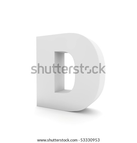 white letter D isolated on white - stock photo