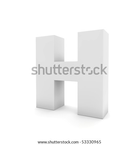 white letter H isolated on white - stock photo
