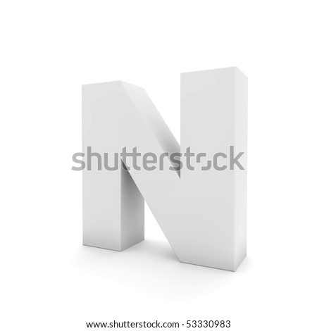 white letter N isolated on white - stock photo