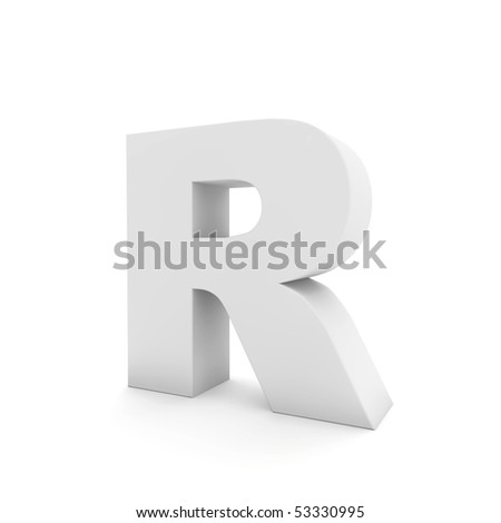 white letter R isolated on white - stock photo