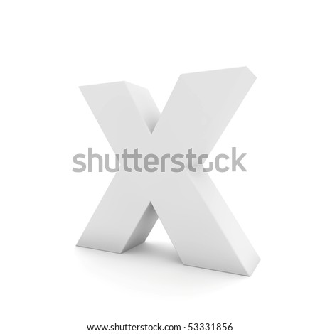 white letter X isolated on white - stock photo