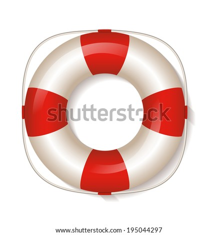 White life buoy. Raster illustration. - stock photo