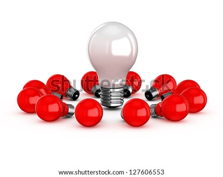 White light bulb lamp among red lamps, isolated on white background. - stock photo