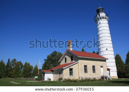 White light house - stock photo