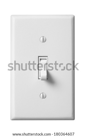 White light switch and faceplate on white background - stock photo