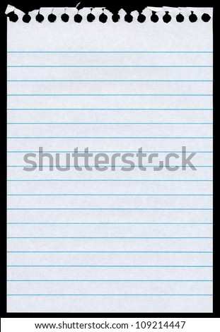 White lined blank torn notepaper page isolated black background. - stock photo