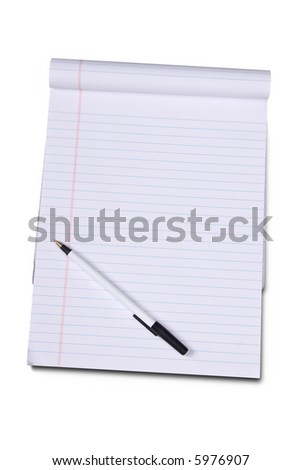 White lined legal notepad isolated over white with a clipping path - stock photo