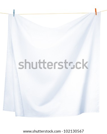 White linen sheets drying on a rope, isolated on a white background, with clipping paths - stock photo