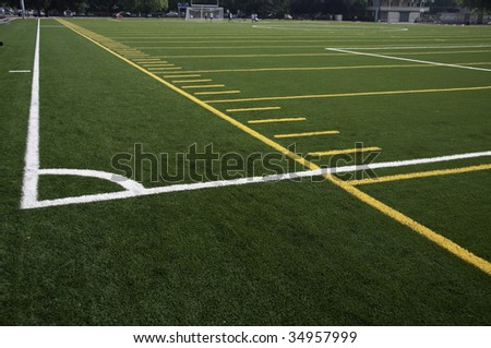 White lines that mark the corner of the filed. - stock photo
