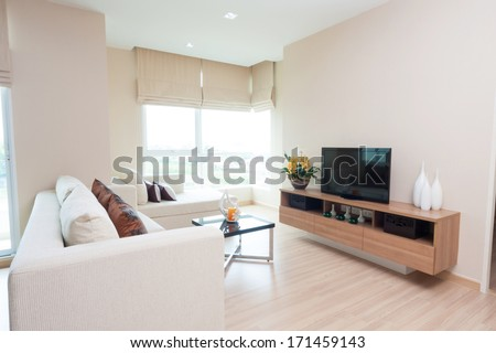 white living-room in condominium. - stock photo