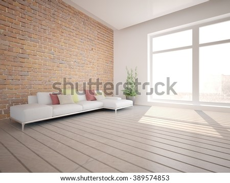 white living room interior design with brick wall - 3d illustration - stock photo