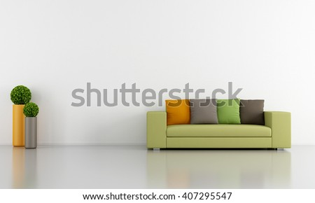 White Living room with colorful modern couch - 3d rendering - stock photo