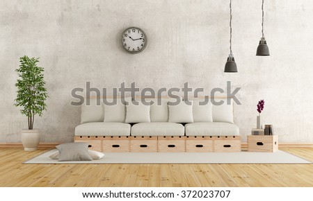 White living room with couch constructed with wooden boxes and pallets - 3D Rendering - stock photo