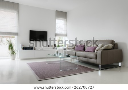 White living room with taupe leather sofa and glass table on carpet - stock photo