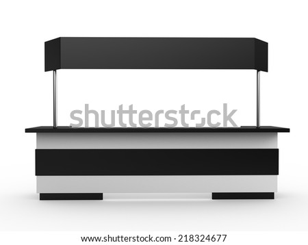 white long booth or kiosk with banner from front view. render - stock photo