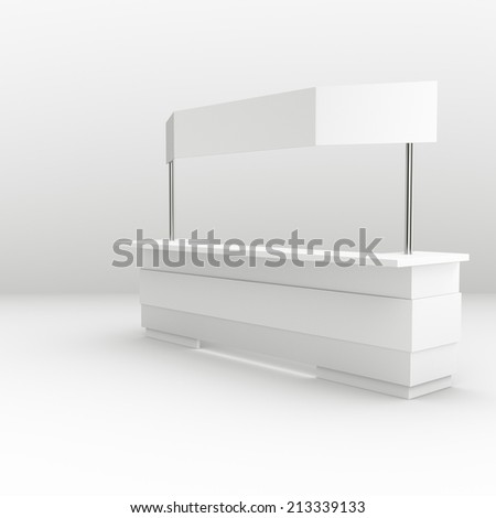 white long booth or kiosk with banner isolated. render - stock photo