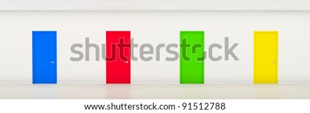 White long corridor with color doors - stock photo