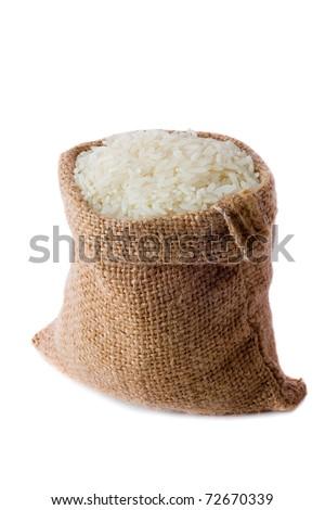 White long rice in small burlap sack - stock photo