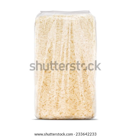 White long rice transparent bag package isolated on white background - stock photo