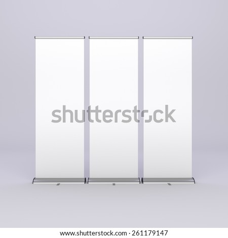 white long three roll-ups from front view - stock photo