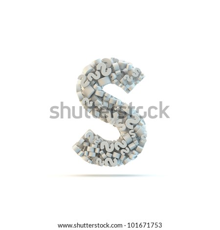 White lowercase letter s isolated on white. Part of high resolution graphical alphabet set. - stock photo