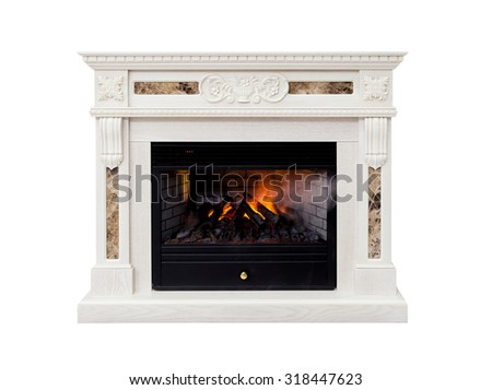 White luxury artificial electronic fireplace with firewoods isolated on white - stock photo