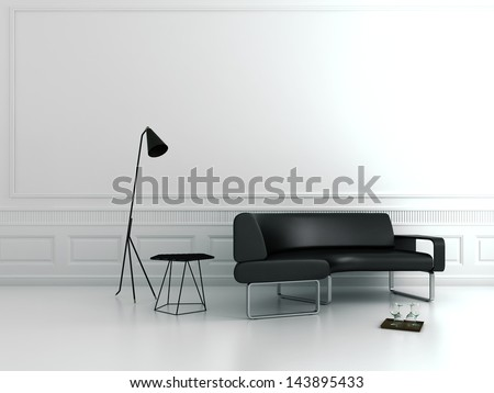 White luxury baroque interior with design couch - stock photo